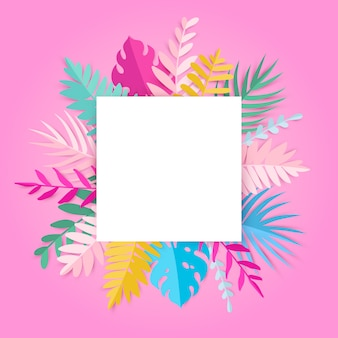 Trendy summer tropical leaves with blank space on pink card