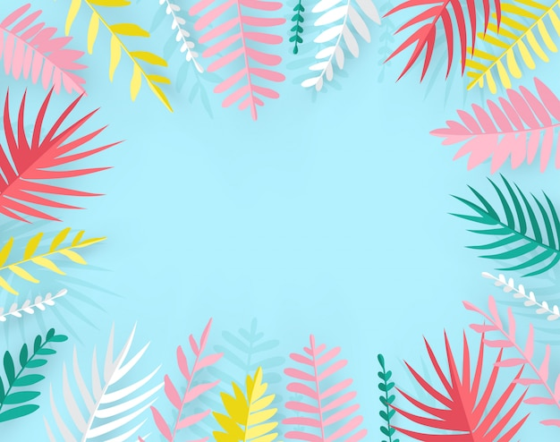 Trendy summer tropical palm leaves in paper cut style.