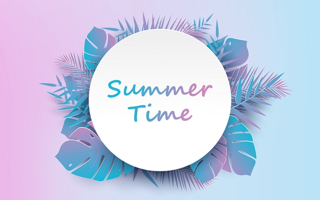 Trendy summer tropical and palm leaves vector