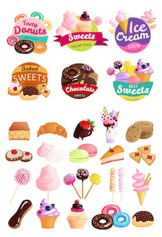 Trendy sweets label set