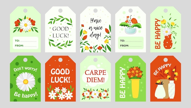 Trendy tags design with flowers. bright graphic elements with greeting text and floral elements. floristics and florist family shop concept. template for greeting labels or invitation card