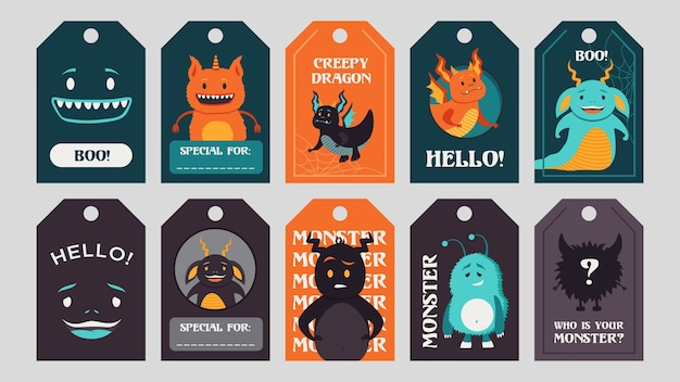 Trendy tags design with funny monsters. bright creepy elements or creatures with greeting text and beasts. celebration and halloween concept. template for greeting labels or invitation card