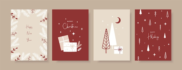 Trendy templates greeting cards in scandinavian style