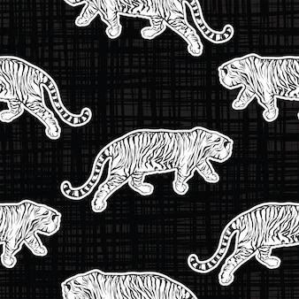Trendy tiger safari seamless pattern vector hand drawn cool style on texture