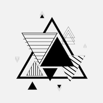 Trendy triangle geometric elements memphis pattern