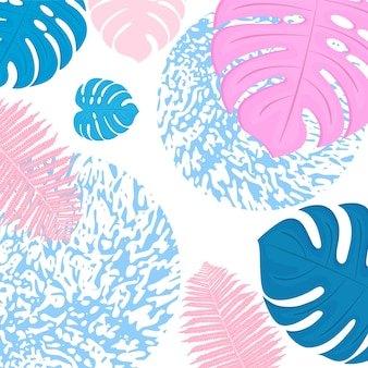 Trendy tropical design. leaves of palm, monstera and fern