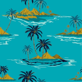 Trendy tropical island hand drawing style summer seamless pattern vector