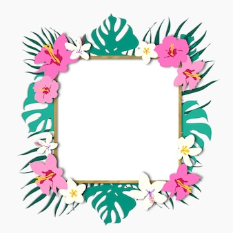 Trendy tropical leaves frame with gold decorative
