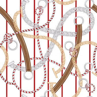 Trendy and unique seamless pattern silver chain ,belt,  on red stripe in vector