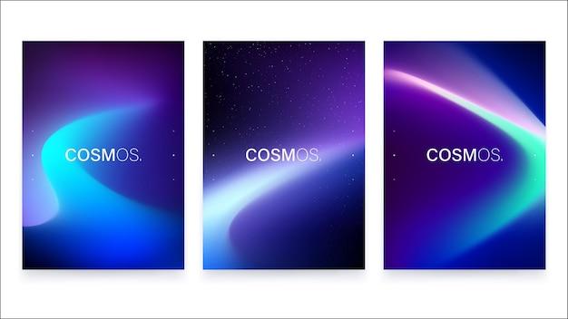 유행 벡터 유체 그라디언트 a4 포스터 디자인 모음.