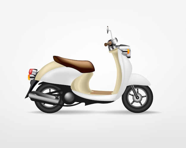 Trendy vintage electric scooter,  on white background.   electric motorbike, template for branding and advertising.