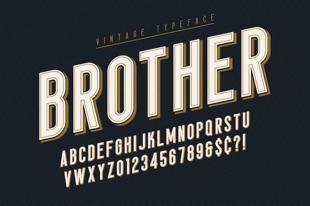 Trendy vintage font with alphabet
