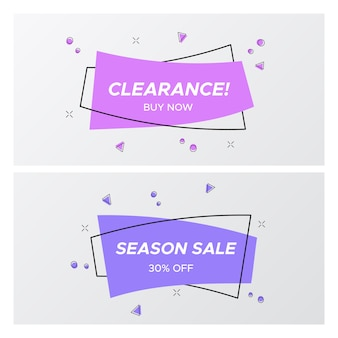 Trendy violet flat sale tags in rectangle shape