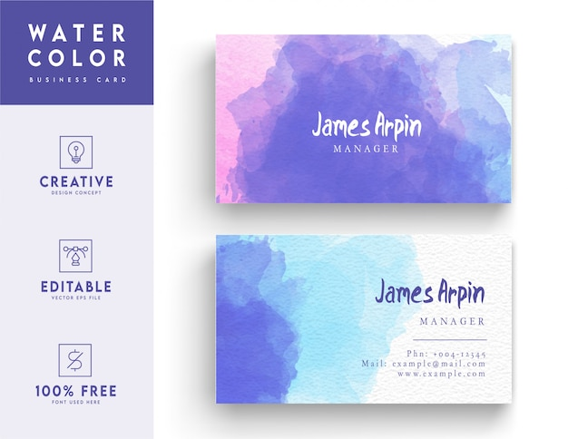 Trendy watercolor business card - identity card design