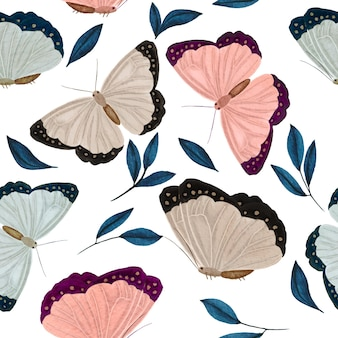 Trendy watercolor seamless pattern with pink blue butterfly and leaves