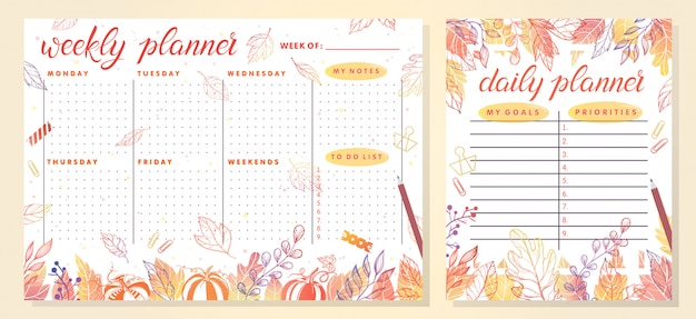 Trendy weekly and daily planner template with autumn leaves and floral elements in fall colors.perfect templates for organizer and schedule with notes.unique illustration for effective planning