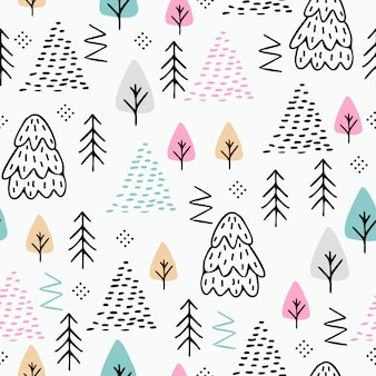 Trendy winter seamless pattern with abstract forest drawing