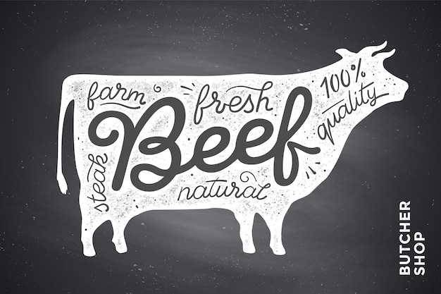 Trendy  with red cow silhouette and words beef, fresh, steak, natural, farm. creative graphic  for butcher shop, farmer market. poster for meat related theme.