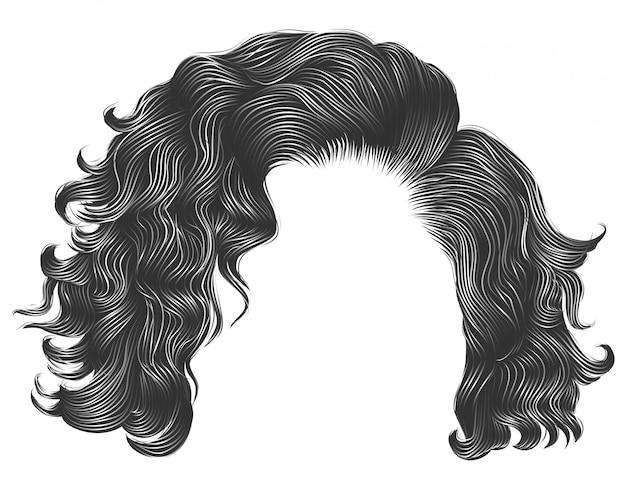 Модные женщины вьющиеся волосы светлые цвета .fringe. мода красота стиль. реалистичные 3d.