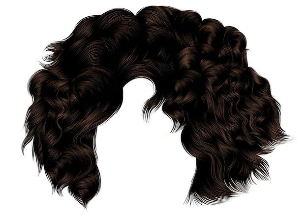 Модные вьющиеся волосы женщины коричневого цвета брюнет. бахрома. реалистичный 3d.