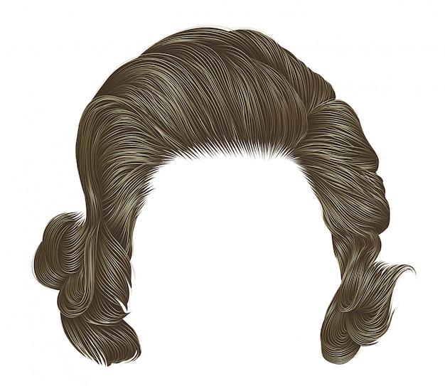 Модная женщина вьющиеся волосы серого цвета. средняя длина . красота s Premium векторы