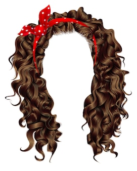Trendy woman curly long hair with red bow. realistic 3d. hairstyle brown.