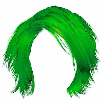 Модная женщина с растрепанными волосами зеленого цвета. реалистичные 3d