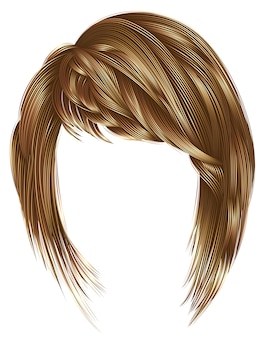 Trendy  woman hair with fringe, light  brown blond