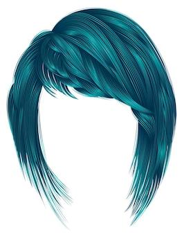 Волосы модной женщины голубого цвета. каре с челкой. средняя длина.