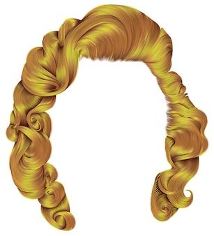 유행 여자 머리카락 밝은 노란색 색상. 복고 스타일 곱슬. 현실적인 3d.