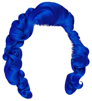 Модные женские волосы темно-синего цвета. кудри в стиле ретро. реалистичный 3d.