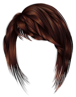 Trendy  woman  hairs  . dark  brown   color . beauty style . realistic   .