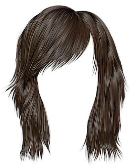 Модные женские волосы темно-коричневого цвета. средняя длина . стиль красоты. реалистичное 3d.