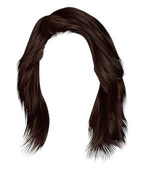 Trendy  woman  hairs  dark  brown   color . medium length . beauty style . realistic   .