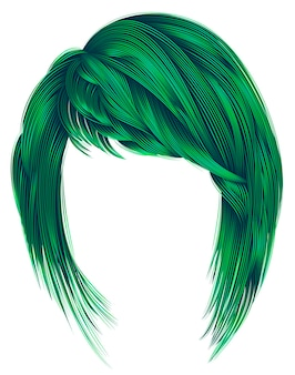 Trendy woman hairs green colors. kare with bangs. medium length. fashion beauty style.