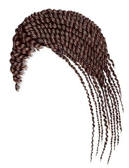 Волосы модной женщины каре красного цвета. красота мода. кудри в стиле ретро. реалистичный 3d.