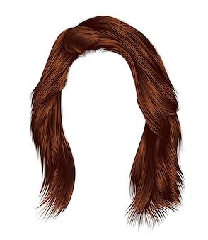 Ультрамодная женщина каре волос с бахромой. красный имбирь рыжий рыжий цвета. средняя длина. стиль красоты. реалистичный 3d. брюнетка.