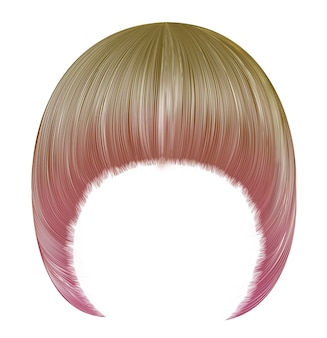 Ультрамодная женщина причесывает пейджбоя с бахромой. светло-русые розовые тона. средняя длина. стиль красоты. реалистичный 3d. Premium векторы