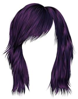 Волосы модной женщины фиолетового цвета. средней длины .. реалистичный 3d. Premium векторы