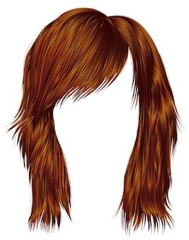 Ультрамодные волосы женщины красного цвета имбиря. средняя длина. стиль красоты. реалистичный 3d.