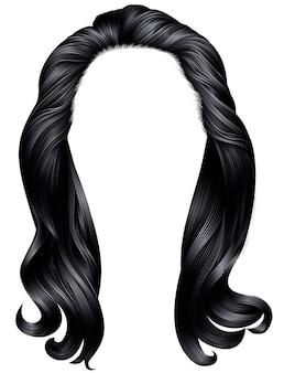 Модные женщины длинные волосы черные цвета. красота мода.