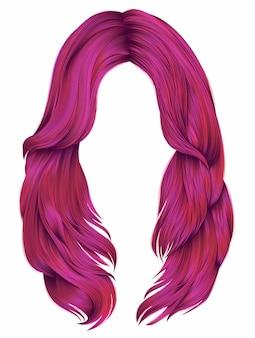 유행 여자 긴 머리카락 밝은 핑크 색상. 현실적인 그래픽 3d