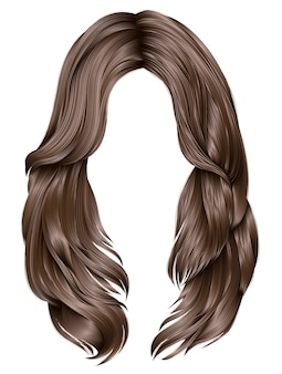 Trendy woman long hairs brown colors .  beauty fashion .  realistic  graphics