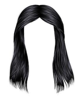Ультрамодная женщина длинных волос брюнет черных цветов. красота мода. реалистичный