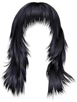 Ультрамодная женщина длинных волос брюнет черных цветов. реалистичный 3d