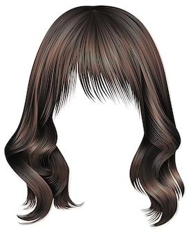 Модная женщина длинные волосы брюнетка темно-коричневого цвета. красота мода. реалистичный 3d