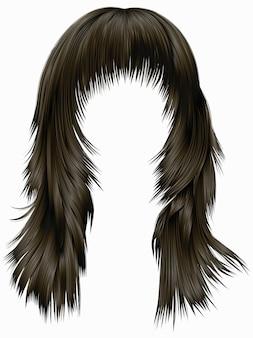 Trendy woman long hairs brunette dark brown