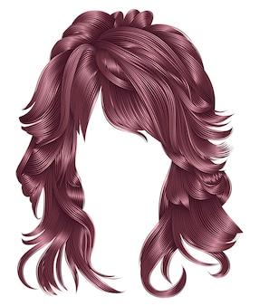 Модная женщина длинные волосы медно-розовые цвета. красота моды. реалистичный 3d