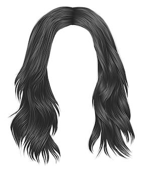 Модные женщины длинные волосы серого цвета. красота мода. реалистичный
