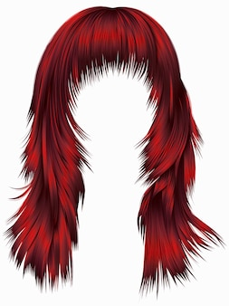 유행 여자 긴 머리카락 붉은 색. 현실적인 3d